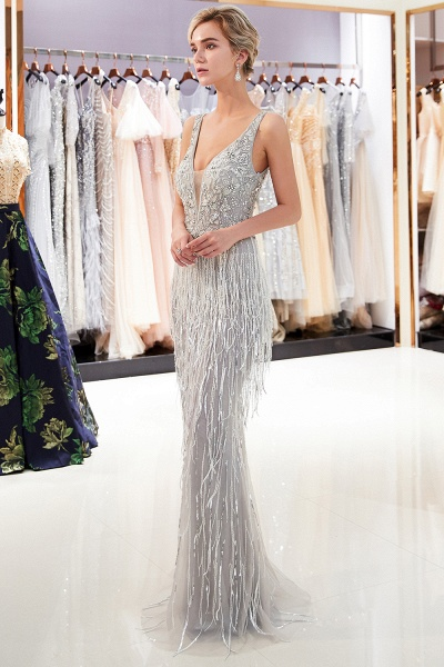 Latest Vneck Beading Fringe Tulle Mermaid Prom Dress_1