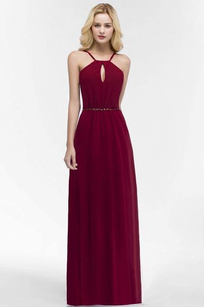 Simple A-Line Chiffon Spaghetti Straps Sleeveless Floor-Length Bridesmaid Dresses with Beading Sash_1