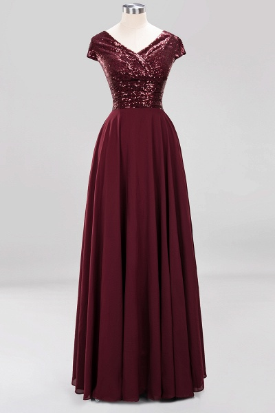 BM0156 A-Line Burgundy Chiffon Sequined V-Neck Sleeveless Ruffles Bridesmaid Dresses_9