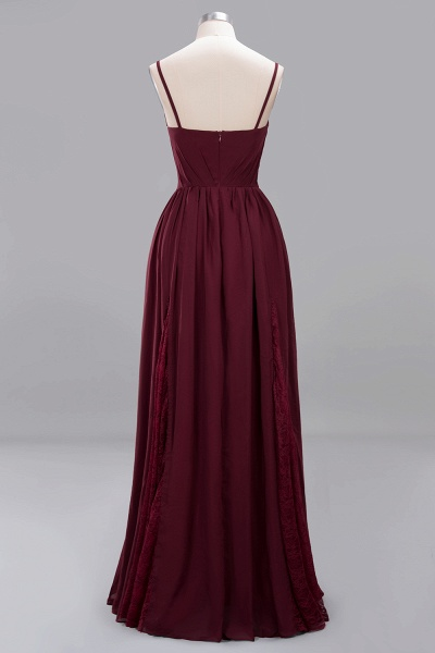 BM0213 A-Line Chiffon V-Neck Spaghetti Straps Long Bridesmaid Dress_14