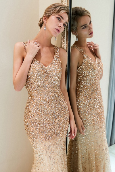Mermaid V-neck Sleeveless Crystals Beading Floor Length Party Dresses_8