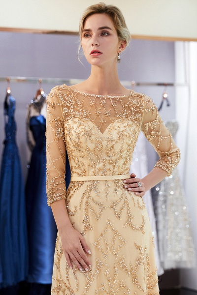 A-line Illusion Neckline Beading Evening Gowns with Sleeves_27