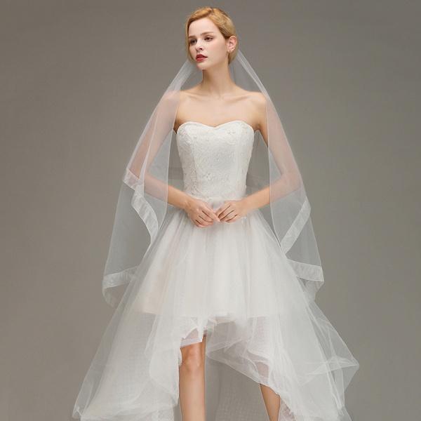 Two Layers Cut Edge Wedding Veil Tulle Bridal Veil_4