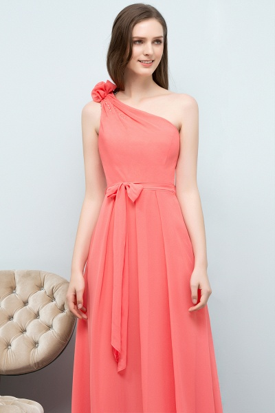 A-line Chiffon One-Shoulder Sleeveless Floor-Length Bridesmaid Dress with Bow Sash_5