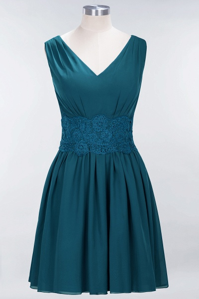 A-line Chiffon Lace V-Neck Sleeveless Mini Bridesmaid Dresses_26