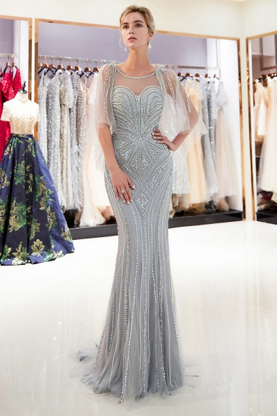 Chic Jewel Tulle Mermaid Prom Dress_6