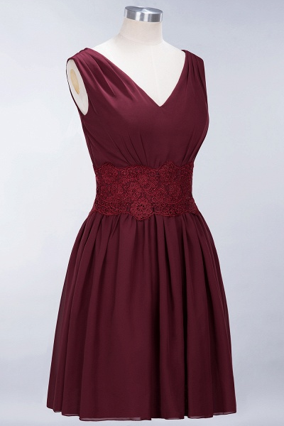 A-line Chiffon Lace V-Neck Sleeveless Mini Bridesmaid Dresses_39