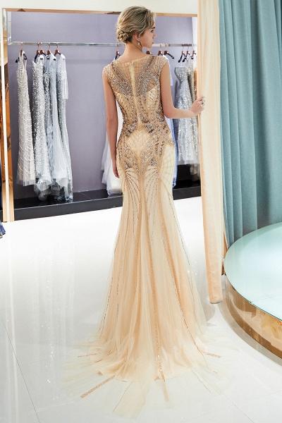 Sleeveless Mermaid Golden Sequins Beading Formal Prom Dresses_5