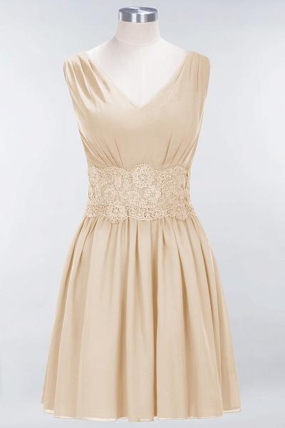 A-line Chiffon Lace V-Neck Sleeveless Mini Bridesmaid Dresses_14