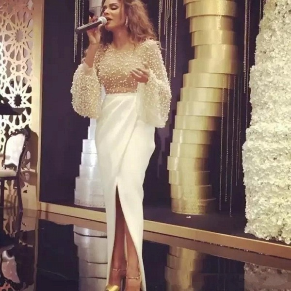 Mermaid Long Sleeves Front-slit Formal Evening Gowns_3
