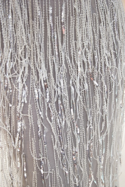 Latest Vneck Beading Fringe Tulle Mermaid Prom Dress_9