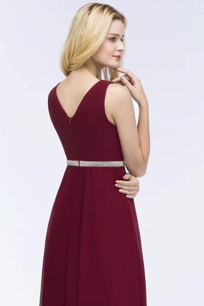 A-line Chiffon V-neck Long-Sleeveless Ruffled Floor-Length Bridesmaid Dresses with Beading Sash_5