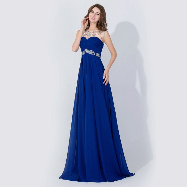 A-line Chiffon Tulle Scoop Sleeveless Floor-Length Bridesmaid Dress With Crystal_3