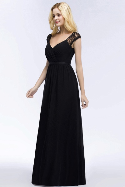 Elegant Mermaid Lace V-Neck Sleeveless Floor-Length Bridesmaid Dresses with Sash_5