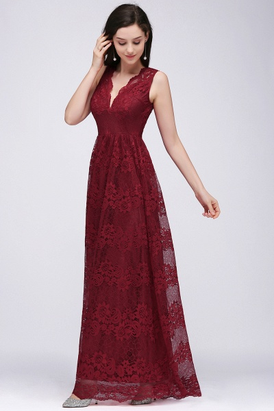 A-Line Lace Deep-V-Neck Sleeveless Floor-Length Bridesmaid Dresses_4