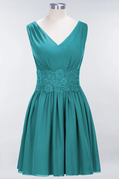A-line Chiffon Lace V-Neck Sleeveless Mini Bridesmaid Dresses_31