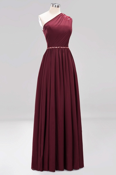 Elegant A-Line Burgundy Chiffon One-Shoulder Sleeveless Ruffles Floor-Length Bridesmaid Dresses with Beadings_42