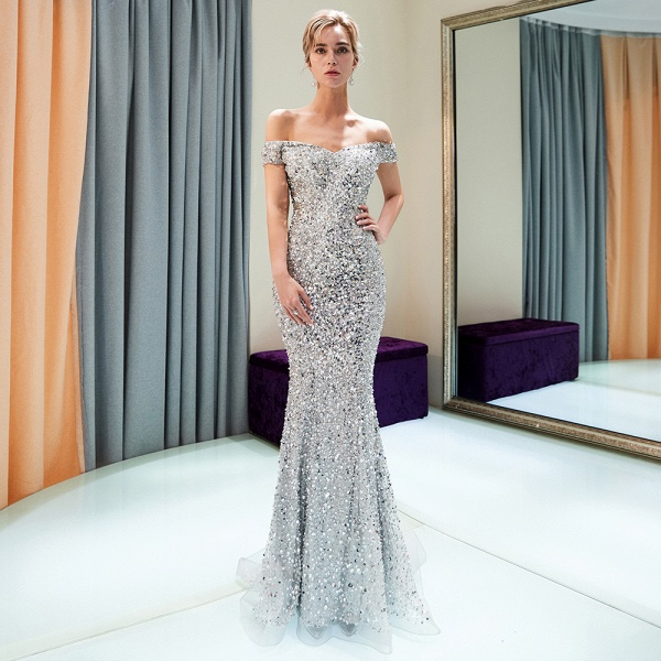 Beautiful Off-the-shoulder Tulle Mermaid Prom Dress_6