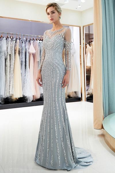 Fabulous Jewel Stretch Satin Mermaid Prom Dress_2
