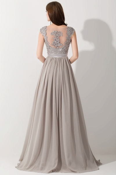 A-line Chiffon V-Neck Sleeveless Ruffles Floor-Length Bridesmaid Dress with Appliques_2