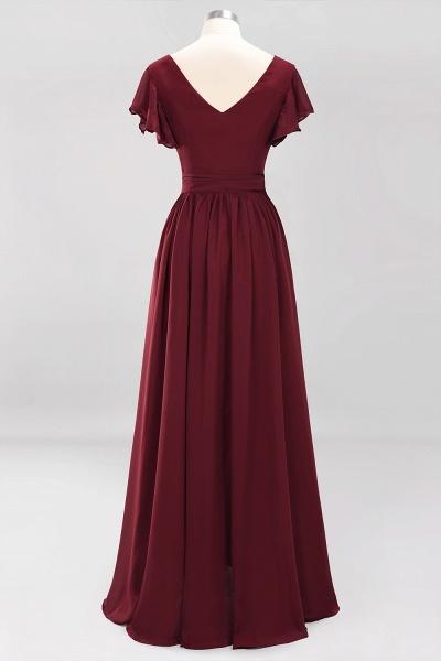 elegant A-line Chiffon V-Neck Short-Sleeves Floor-Length Bridesmaid Dresses with Bow Sash_9