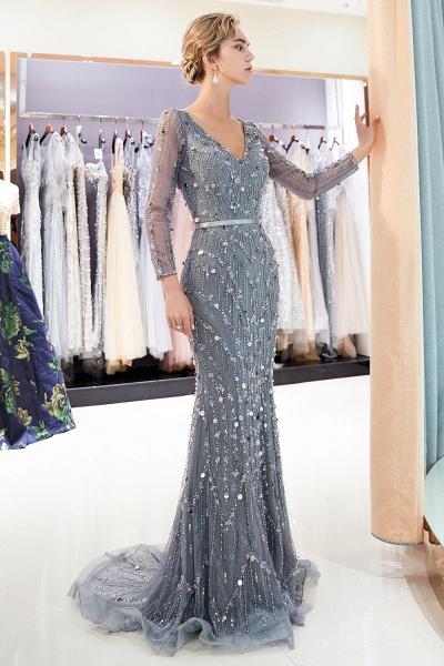Wonderful V-neck Tulle Mermaid Prom Dress_5