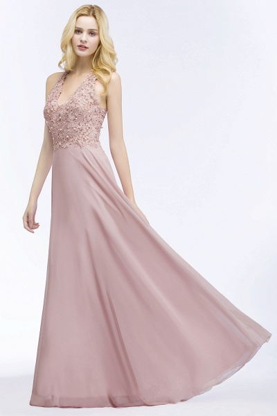 A-line Chiffon Appliques V-neck Sleeveless Floor-Length Bridesmaid Dresses with Pearls_4