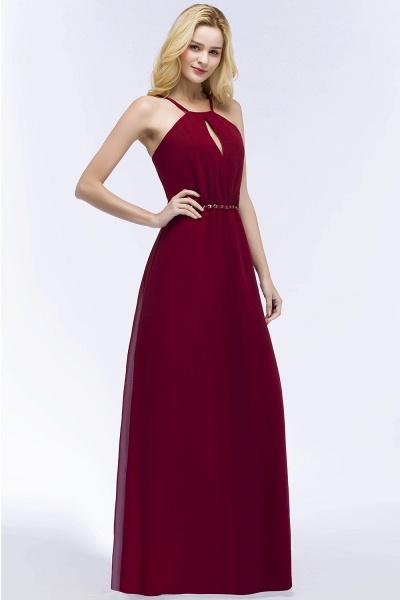 Simple A-Line Chiffon Spaghetti Straps Sleeveless Floor-Length Bridesmaid Dresses with Beading Sash_5