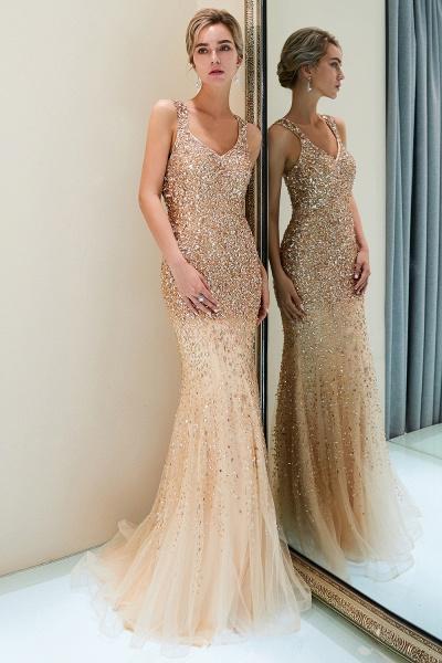 Mermaid V-neck Sleeveless Crystals Beading Floor Length Party Dresses_5