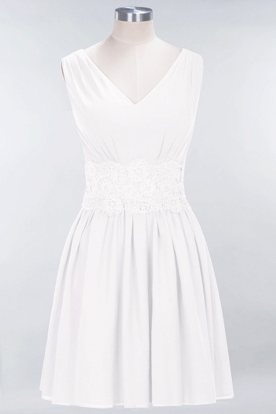 A-line Chiffon Lace V-Neck Sleeveless Mini Bridesmaid Dresses_1
