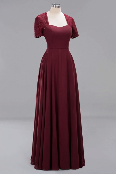 A-Line Chiffon Square Short Sleeves Bridesmaid Dress with Ruffle_35