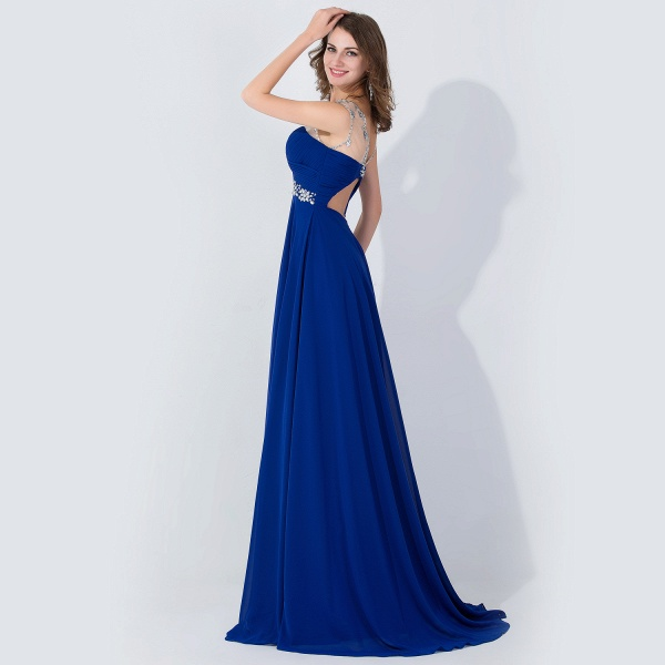 A-line Chiffon Tulle Scoop Sleeveless Floor-Length Bridesmaid Dress With Crystal_4