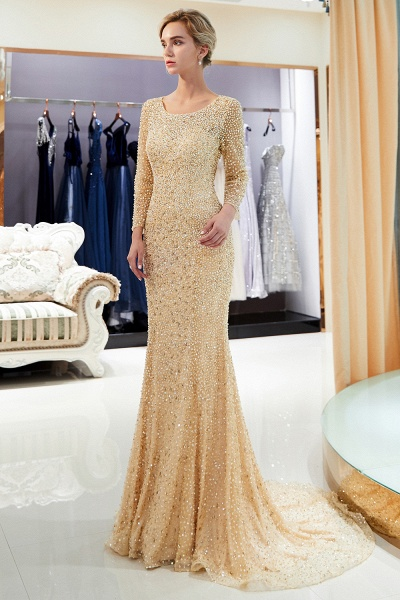 Long Sleeve Mermaid Floor Length Sequins Formal Party Dresses_11