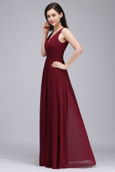 Elegant A-Line Chiffon V-Neck Sleeveless Ruffles Floor-Length Bridesmaid Dresses_3