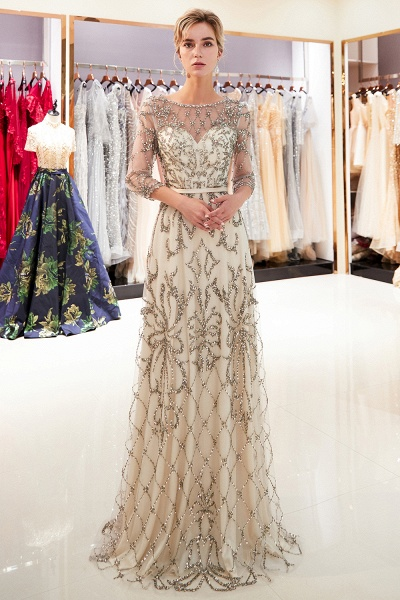A-line Illusion Neckline Beading Evening Gowns with Sleeves_6