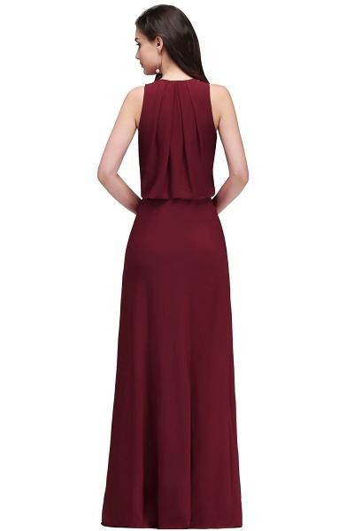 A-line Chiffon V-Neck Sleeveless Front-Split Floor-length Bridesmaid Dress with Crystal_2