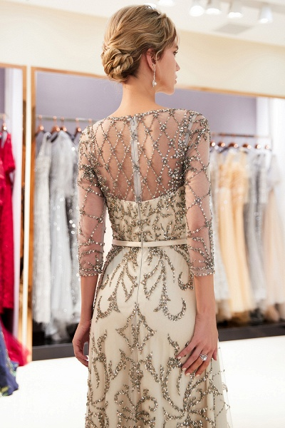 A-line Illusion Neckline Beading Evening Gowns with Sleeves_8