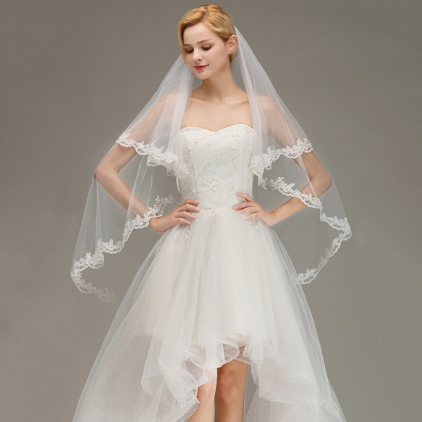 Two Layers Tulle Lace Edge Comb Wedding Veil_3