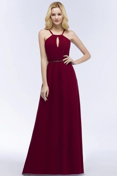 Simple A-Line Chiffon Spaghetti Straps Sleeveless Floor-Length Bridesmaid Dresses with Beading Sash_3