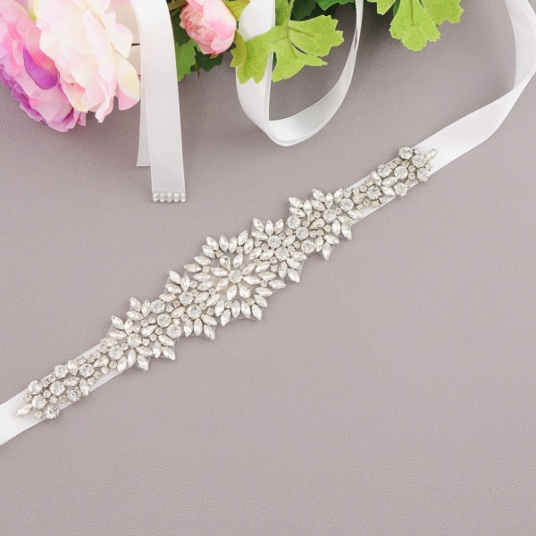 Satin Crystal Wedding Sash with Rhinestone_2
