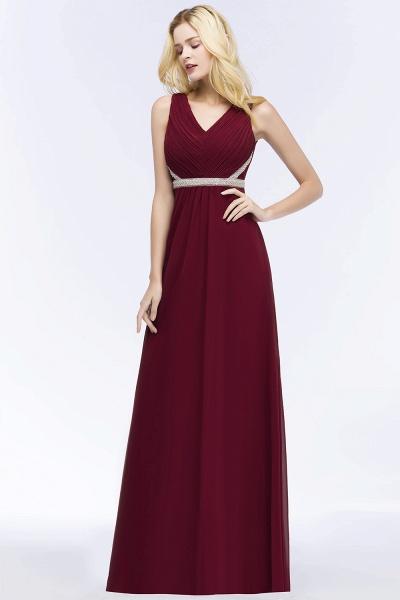 A-line Chiffon V-neck Long-Sleeveless Ruffled Floor-Length Bridesmaid Dresses with Beading Sash_3