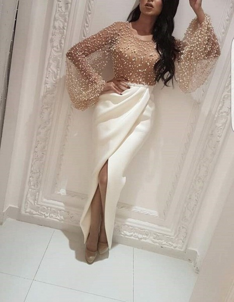 Mermaid Long Sleeves Front-slit Formal Evening Gowns_1