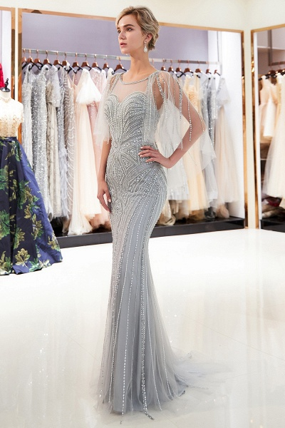 Chic Jewel Tulle Mermaid Prom Dress_2