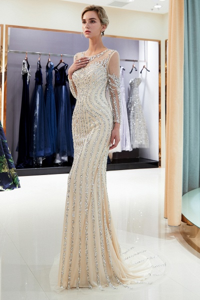 Fabulous Jewel Stretch Satin Mermaid Prom Dress_11