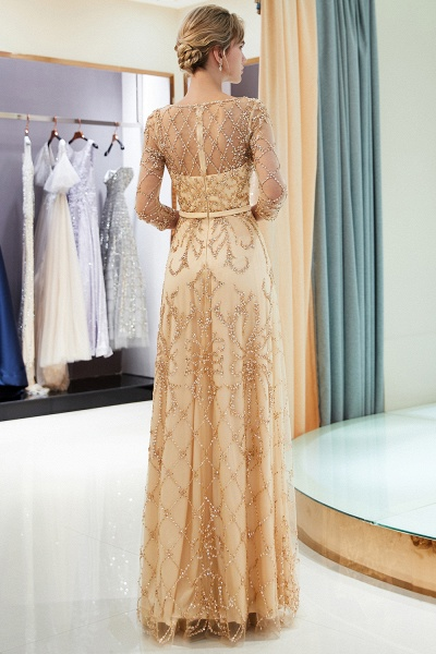 A-line Illusion Neckline Beading Evening Gowns with Sleeves_22
