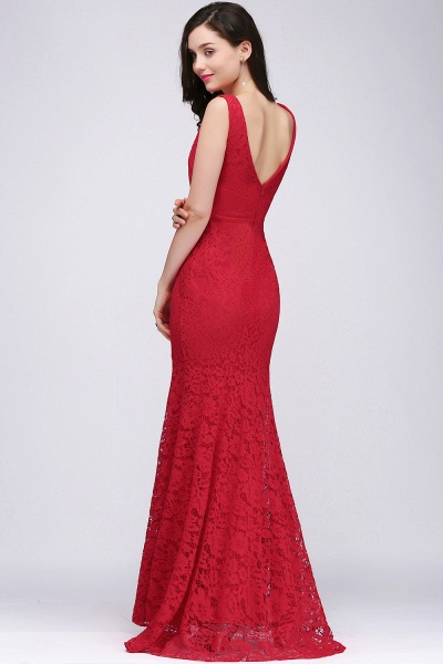 Elegant Mermaid Lace V-Neck Sleeveless Floor-Length Bridesmaid Dresses_5