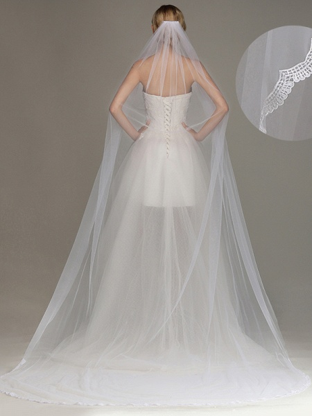 One Layer Cathedral Tulle Wedding Veil with Comb