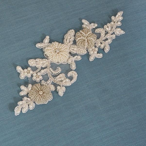 Beautiful Satin Flower Wedding Sash with Pearls_10