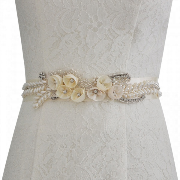 Handmade Flower Pearl Wedding Sash with Beadings
