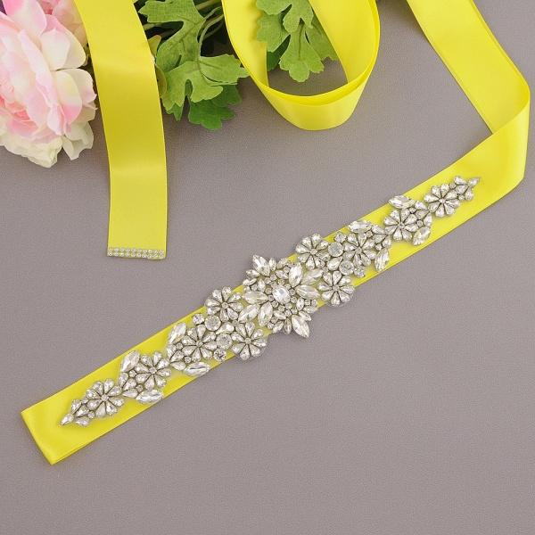 Satin Flowers Pattern Wedding Sash with Pearls_5